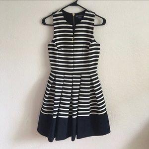 Armani Exchange Navy Striped Fit n Flare Dress